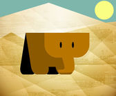 Elephant south sun desert sand mascot — 图库矢量图片