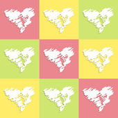 Background with hearts yellow green pink — Stock Vector
