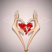 Lovely heart in hands — Stock vektor
