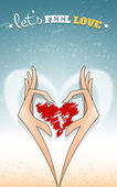 Lovely heart in hands vetrical — Vector de stock
