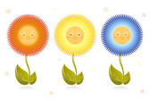 Funny flowers children faces kids — Stock Vector
