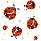 Seamless white summer background with funny ladybugs — Stock Vector