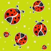 Seamless green summer background with funny ladybugs vector version — Stock Vector