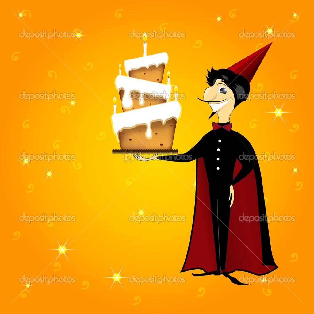 Uomo di mago con cartone animato torta
