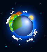 Planet Earth in space four seasons gradation vector — Stock Vector