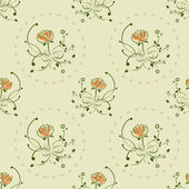 Seamless green and orange floral vintage pattern vector — Stockvektor