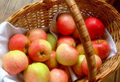 Ripe apples in the basket — Stock Photo