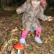 Pretty little girl with pink bows in overcoat found large toadst — Stock Photo #29744635
