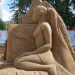 PERM - JUNE 10: Sand sculpture Woman at festival White Nights, o — Stock Photo