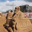 PERM - JUNE 10: Sand sculpture Charles Darwin at festival White — Stock Photo #38446957