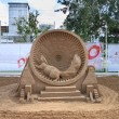 Stock Photo: PERM - JUNE 10: Sand sculpture Squirrel in cage at festival Whit