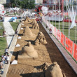 PERM - JUNE 7: Above view to sand sculptures at festival White N — Stok fotoğraf