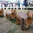 Stock Photo: PERM - JUNE 10: Wooden bears at festival White Nights, on June 1