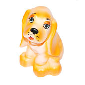 Small rubber toy dog with sad snout isolated on white background — Stock Photo