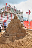PERM - JUNE 10: Sand sculpture Jesus at festival White Nights, o — Stock Photo