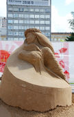 PERM - JUNE 10: Sand sculpture Dancer at festival White Nights, — Stock Photo