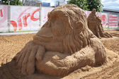 PERM - JUNE 10: Sand sculpture Ape at festival White Nights, on — Stock Photo