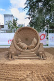 PERM - JUNE 10: Sand sculpture Squirrel in cage at festival Whit — Stock Photo