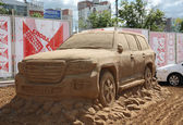 PERM - JUNE 10: Sand sculpture Toyota car at festival White Nigh — Stock Photo
