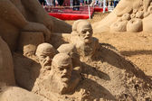 PERM - JUNE 10: Sand sculpture Lenin at festival White Nights, o — Stock Photo
