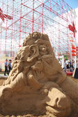 PERM - JUNE 10: Sand sculpture Animals at festival White Nights, — Stock Photo