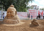 PERM - JUNE 10: Sand sculpture Genghis Khan at festival White Ni — Stock Photo