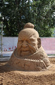 PERM - JUNE 10: Sand sculpture Genghis Khan head at festival Whi — Stock Photo