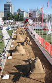 PERM - JUNE 7: Above view to sand sculptures at festival White N — Stock Photo