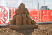 PERM - JUNE 7: Sand sculpture Love of Chekhov by Ingrid Struense — Stock Photo