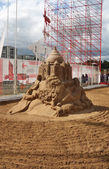 PERM - JUNE 10: Sand sculpture Omar Khayyam by Konstantin Siryac — Stock Photo