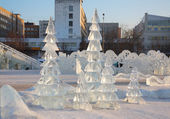 PERM - FEBRUARY 17: Firs in Ice town, on February 17, 2012 in Pe — Stock Photo