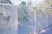 PERM - FEBRUARY 17: Wall with Christmas greetings in Ice town, o — Stock Photo