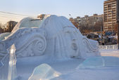 PERM - FEBRUARY 17: Big face at slide in Ice town, on February 1 — Stock Photo