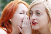 Two beautiful girls whisper and secretive in park at summer day — Stock Photo