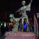 PERM, RUSSIA - JAN 11, 2014: Illuminated sculpture figure skatin — Stock Photo