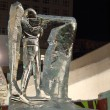 PERM, RUSSIA - JAN 11, 2014: Biathlonist sculpture in Ice town a — Stock Photo