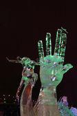 PERM, RUSSIA - JAN 11, 2014: Illuminated sculpture Hand and danc — Stock Photo