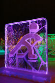 PERM, RUSSIA - JAN 11, 2014: Illuminated Curlers character sculp — Stock Photo