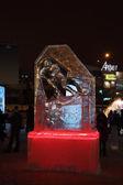 PERM, RUSSIA - JAN 11, 2014: Illuminated sculpture skier in Ice — Stock Photo