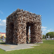 PERM, RUSSIA - MAY 23, 2013: Russian big letter P made of logs - — Stock Photo