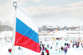 PERM, RUSSIA - JAN 6, 2014: Russian flag in Ice town, created in — Stock Photo