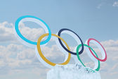 PERM, RUSSIA - JAN 6, 2014: Blue sky and symbol of Olympic Games — Stock Photo
