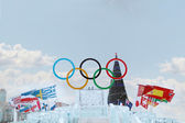 PERM, RUSSIA - JAN 6, 2014: Big Symbol of Olympic Games in Ice t — Stock Photo