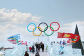 PERM, RUSSIA - JAN 6, 2014: Symbol of Olympic Games in Ice town, — Stock Photo