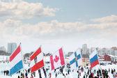 Perm, rusko - 6 ledna 2014: vlajky zúčastněných zemí a — Stock fotografie