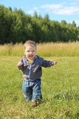 Little boy runs and shouts on grass at green meadow in sunny day — Stock Photo