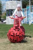 PERM, RUSSIA - JUN 13, 2013: Girl on bike with spherical wheels  — Stock Photo