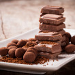 Chopped chocolate with cocoa — Stok Fotoğraf #35236269
