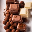 Chopped chocolate with cocoa — Stok Fotoğraf #35236863