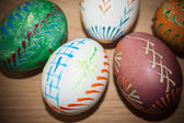 Easter eggs on wooden table — Stock Photo